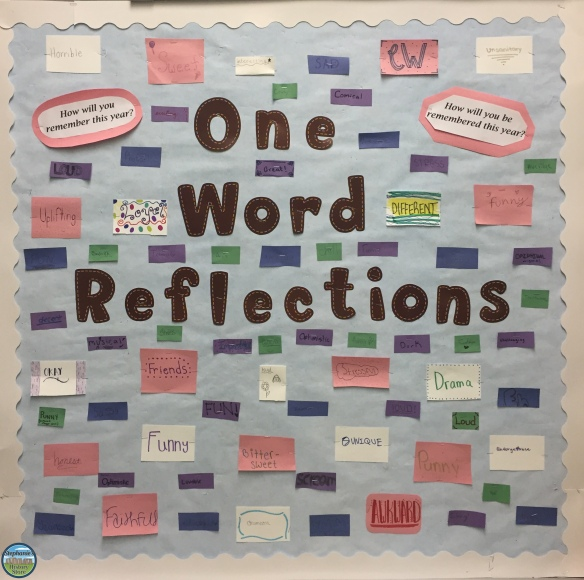 end of year reflection bulletin board--middle school