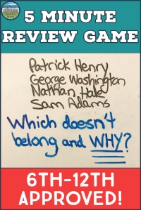 a 5 minute review game, what doesn't belong and why